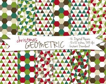 Geometric Digital Christmas Paper // Printable Christmas Patterns // Christmas Digital Paper // Christmas Triangle Paper