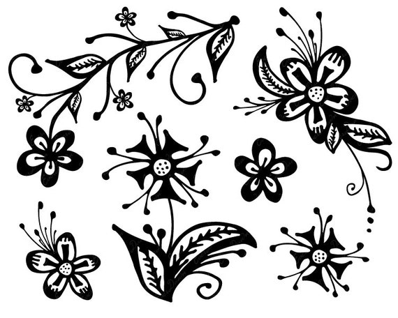 Hand Drawn Flowers Hand Drawn Clip Art Flowers Black And Etsy