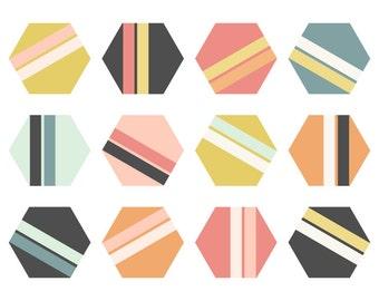 Geometric Clip Art // Grey, Pink, Mustard and Teal // Hexagon Digital ClipArt // Instant Download Hexagons