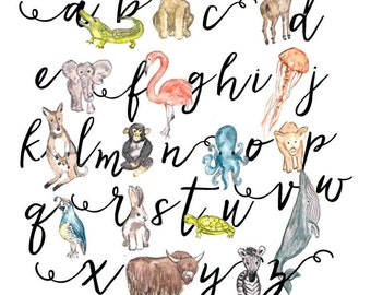 Watercolor Animal Alphabet Print