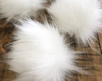 Faux Fur Pom || SNOWFLAKE || Handmade Pom || Craft Supply || Faux Fur || White pompom