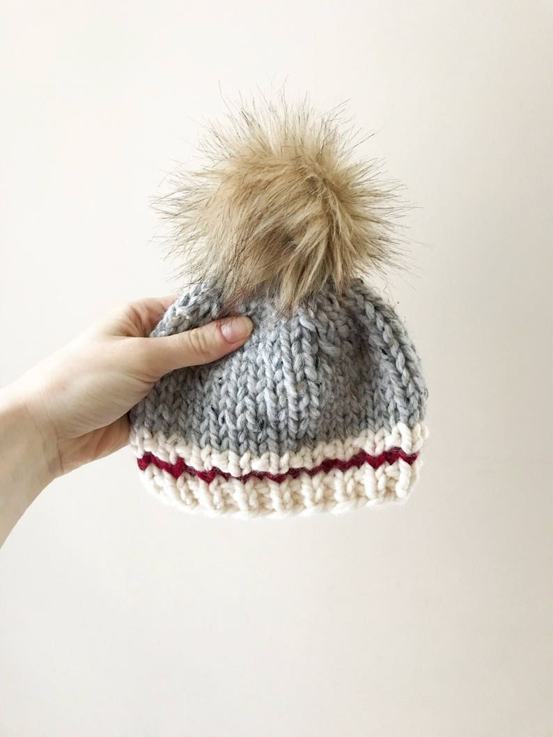 e16f6e8a15243 NEWBORN Lumberjack Knit Toque || Faux fur pompom hat || Newborn knit hat ||  Winter wear || Sock monkey hat