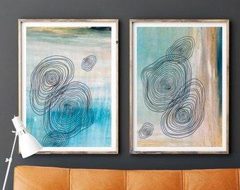 Mid Century Modern Art Print, Set of 2 Art Prints, Minimal Art, Geometric Wall Art, Abstract Art Line Art Teal and Gold Art Scandinavian Art