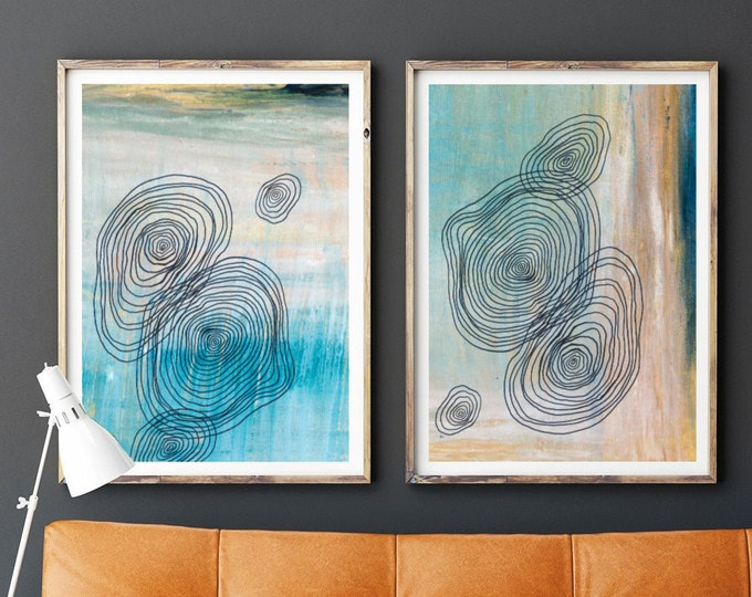 Mid Century Art Print, Set of 2 Art Prints, Minimal Art, Geometric Wall Art, Abstract Art Pint Line Art, Teal and Gold Art, Scandinavian Art