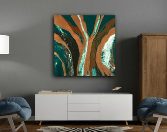 """LARGE ART Art Painting Abstract Painting Extra Large Wall Art Green and brown Painting original painting on Canvas by LDawningScott 36 x 36"""""""
