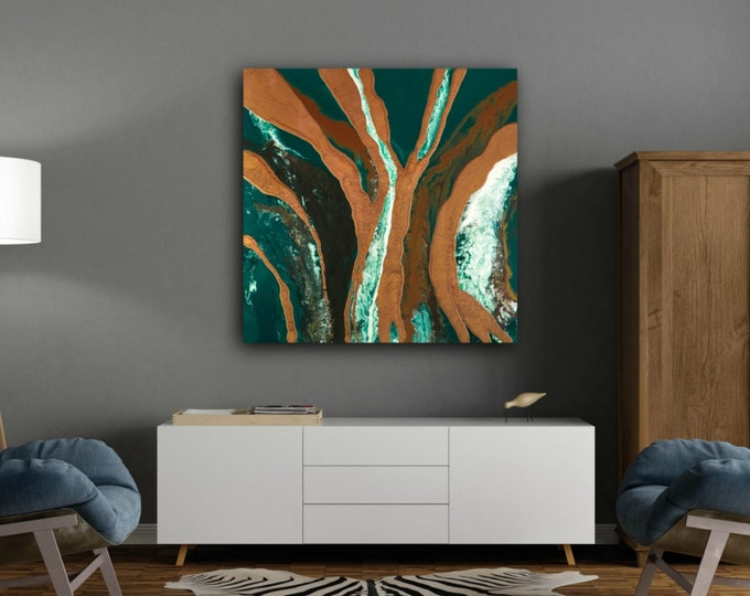 LARGE ART Art Painting Abstract Painting Extra Large Wall Art Green and brown Painting original painting on Canvas by LDawningScott 36 x 36""