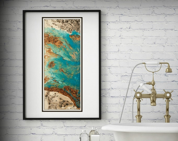 Blue and Copper Art, Vertical Wall Art Prints Fine Art Prints Abstract Painting Wall Decor Art Print Blue Painting Large Abstract Print