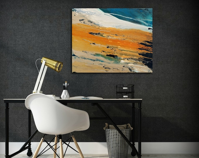Art Painting Acrylic Painting Abstract Art Small Wall Art Teal and Orange Home Decor Canvas Art, Wall Hanging 24 x 30""