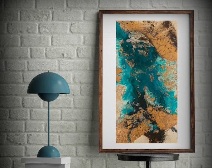 Teal and Copper Abstract Art, Large Abstract Print, Neutral Colors Vertical Painting, Kitchen & Bathroom Canvas Wall Art by L Dawning Scott
