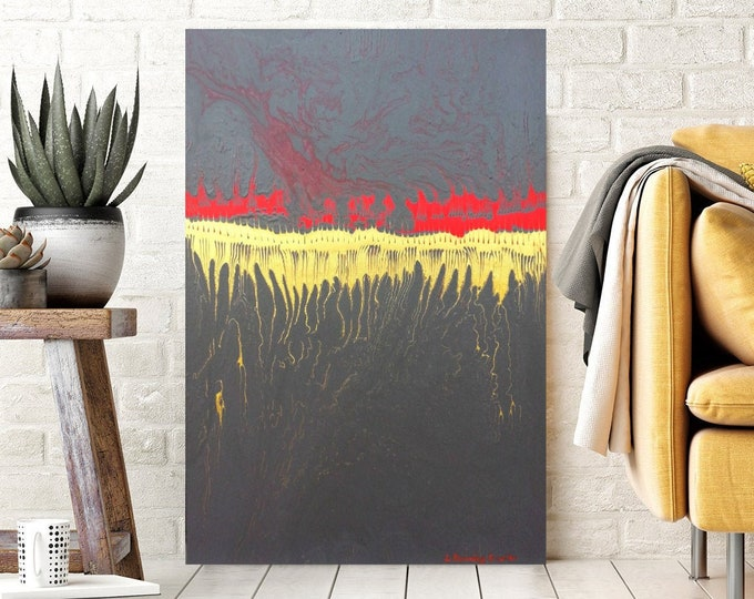 Abstract Painting, Neutral Wall Art Boho Decor, Gray, Gold and Red Minimalist Original Painting
