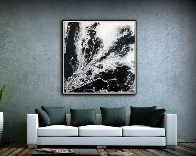 Giclee Abstract Fine Art Print from Original Abstract Painting Extra Large Art 8 x 8 - 54 x 54 / Black and White Wall Art Gift for Friend