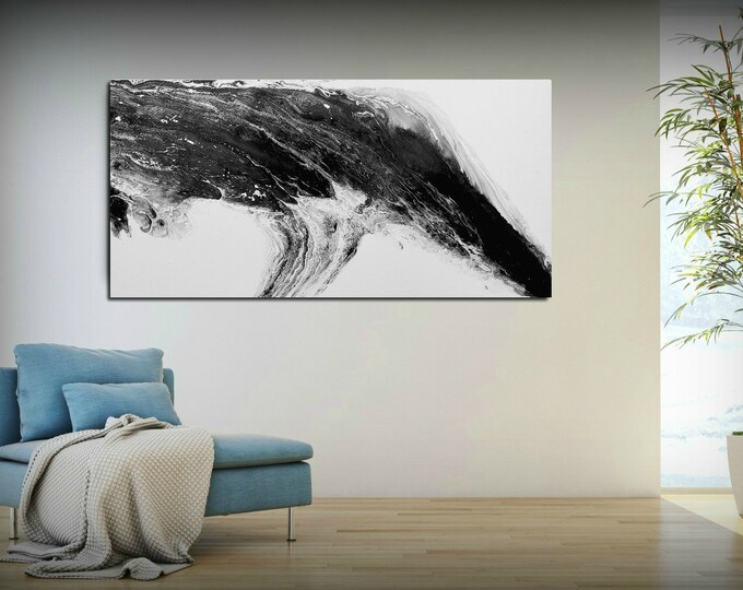 Modern painting Abstract black and white art Large paintings on canvas large canvas wall art Large abstract art Abstract landscape painting