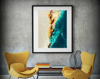 Large ABSTRACT Print of Painting, Blue Painting Print, Giclee Print, Coastal Painting, Teal and Copper Wall Decor Gift for Women