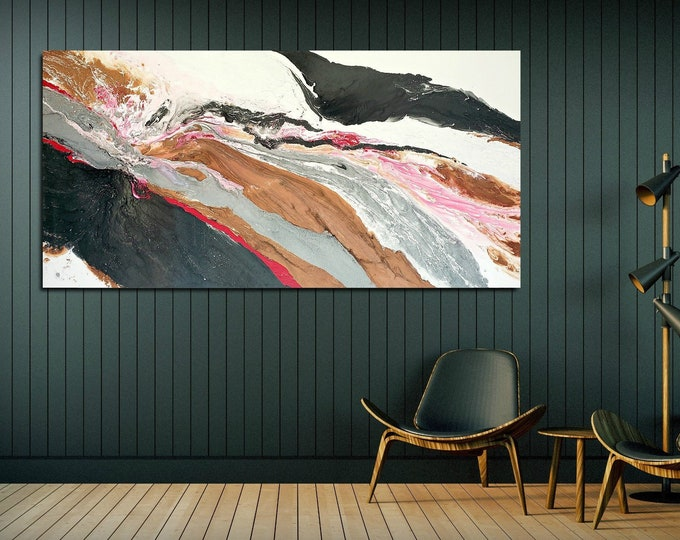 Modern Wall Art | Abstract Bedroom Painting | Office Painting | Large Wall Art | Large Abstract Canvas  Big Pink Black White Copper Painting