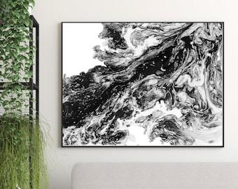 Painting Black and White, Abstract Print, Black Abstract Art, Monochrome Art Print, Home Decor, Wall Decor, Fine Art Print