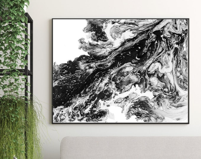 Painting Black and White, Abstract Print, Black Abstract Art, Monochrome Art Print, Home Decor, Wall Decor, Fine Art Print