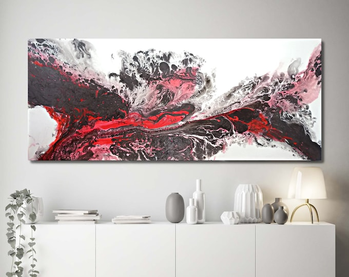Extra Large Wall Art, Large Abstract Art for your Home or Office / Red, Black and White Painting By L Dawning Scott
