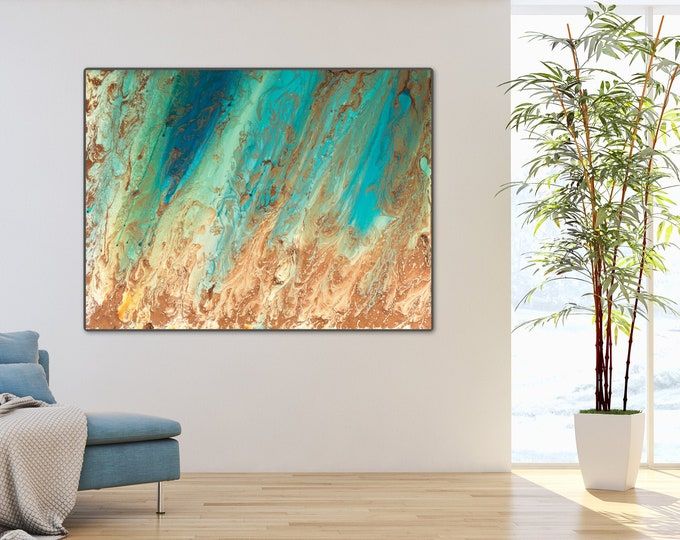 Large Wall Art Abstract Giclee Print Turquoise Painting Blue and Copper Coastal Print, Office Painting Contemporary Art Living Room Wall Art