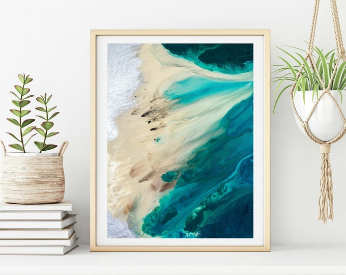 Beach Wall Art, Abstract Ocean Painting, Beach Waves Wall Art, Living Room Art, Blue Waves, Teal Blue Fine Art print