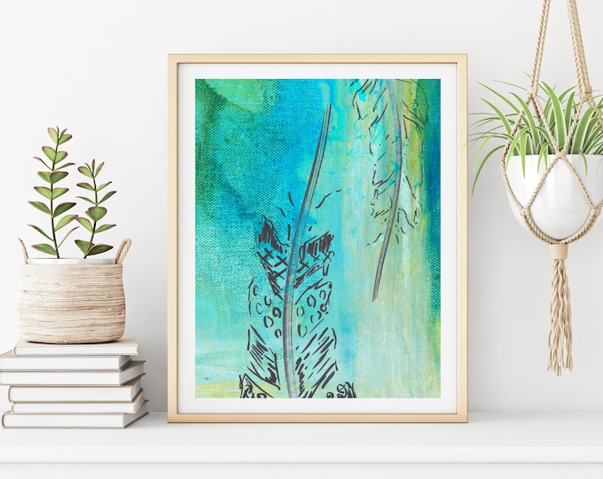 Modern Abstract Art Print, Feather Art, Large Wall Art Bohemian Print, Feather Print, Modern Wall Decor, Blue Teal Aqua Green Line Art Print
