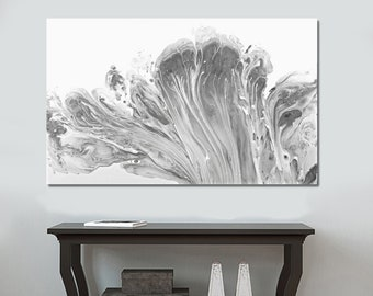 Acrylic Pour Fluid Art, Abstract Original Painting , Pour Painting on Canvas, Modern Grey Wall Art, Whimsical Art, Grey and White Painting