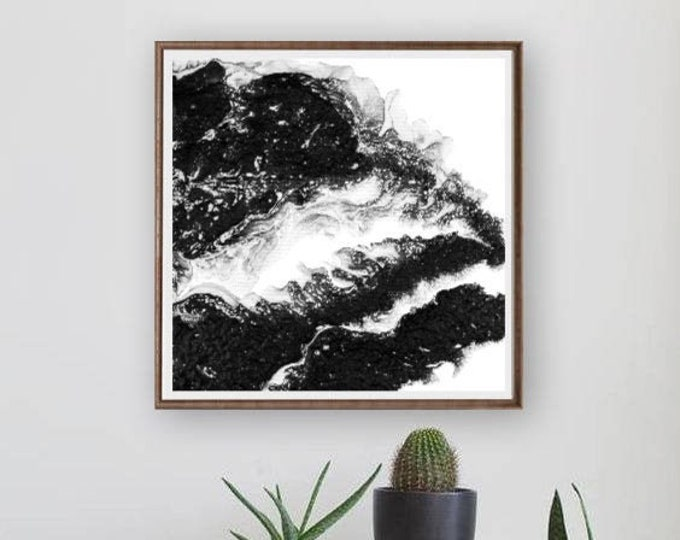 Black and White Square Abstract Art Print by L Dawning Scott