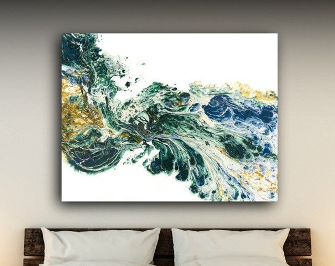 Extra Large Wall Art, Large Abstract Art for your Home or Office / Dark Green, Blue and Antique Gold Original Painting By L Dawning Scott