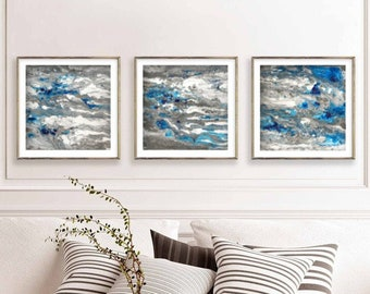 Large Abstract Painting Print, Set of 3 Navy Blue Prints,  Gray Blue and White Art Print, Abstract Art, Blue Wall Decor, Abstract Artwork