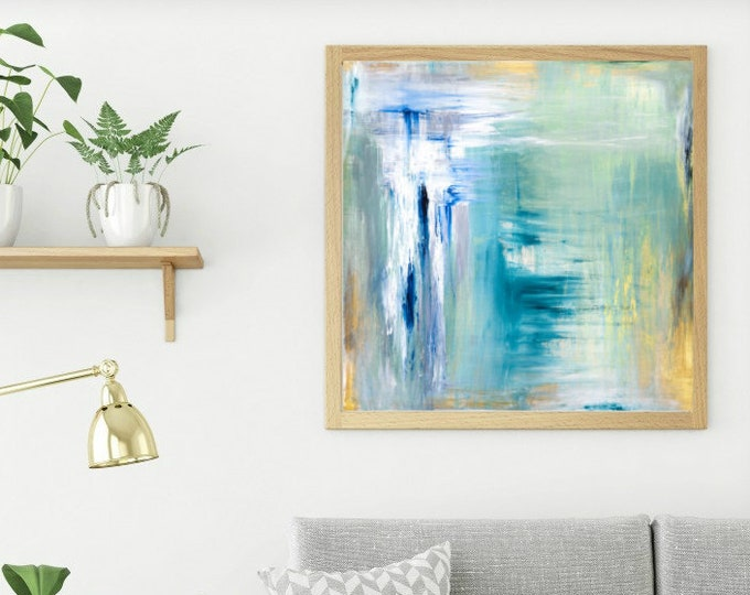 Abstract Blue and Gold Print, Calming Blue Painting, Abstract Landscape Print, Minimalist Contemporary Artwork, Soft Abstract Art, Lis Scott