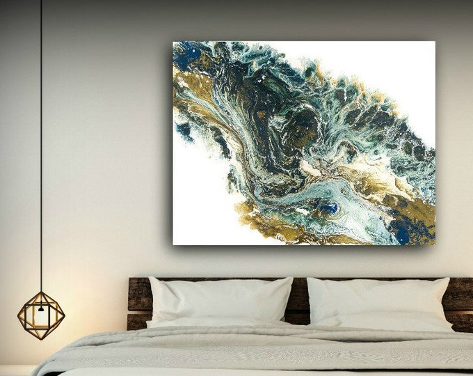 Extra Large Wall Art, Large Abstract Art for your Home or Office / Dark Teal Green, Blue and Antique Gold Painting By L Dawning Scott