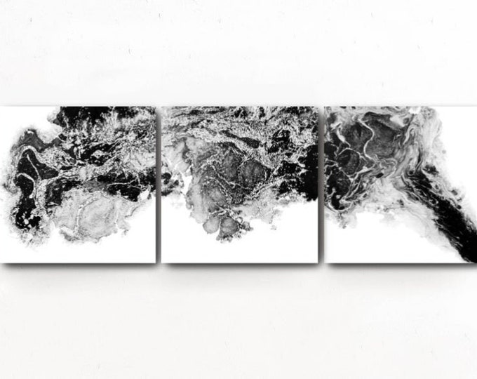 Large Abstract Painting Print, Set of 3 Black and White Prints, Gray Black and White Art Print, Abstract Art, Modern Wall Decor Abstract Art