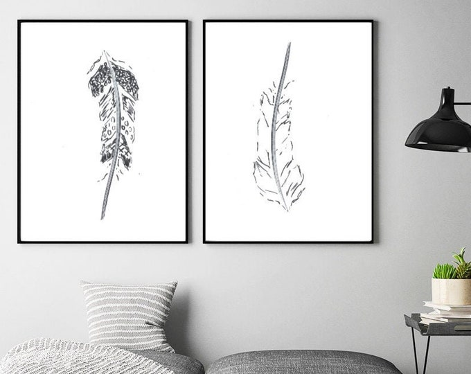 Feather line art, Set of 2 prints, Abstract botanical decor, Minimalist wall art, Modern room decor, Boho wall art, Black and white Drawing