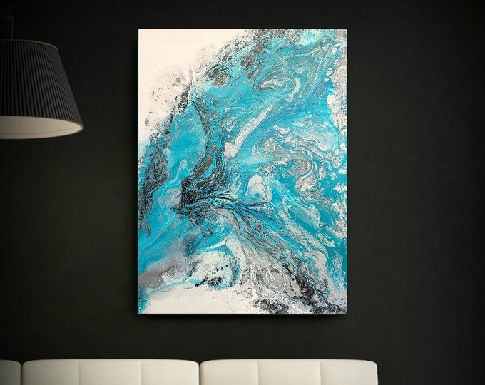 ORIGINAL Painting Art Painting Acrylic Painting Abstract Painting Modern Wall Hanging Extra Large Wall Art XL Coastal Home Decor 36 x 48