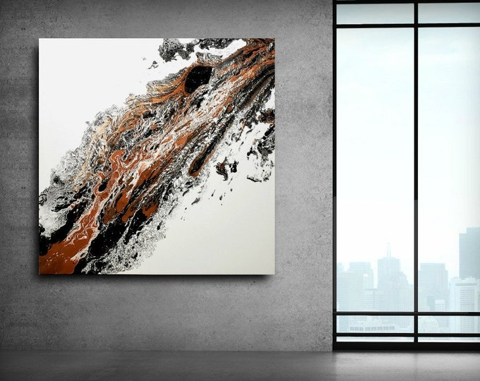 ABSTRACT PAINTING, black white and copper Art Modern Art on Canvas, Contemporary Art Abstract Art Wall Hanging Home Decor Wall Art Gallery