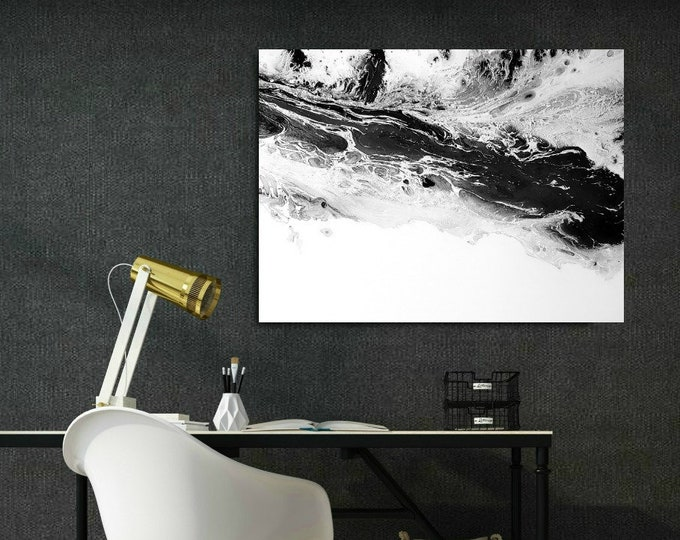 """Art Painting, Abstract Painting, Acrylic Painting, ORIGINAL PAINTING, Black and White Wall Art Canvas Painting, Fine Art Wall Hanging 24x32"""""""