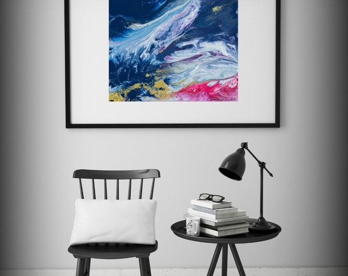 Abstract Painting Print Abstract Art Blue Print Small Art Print Gift for Her Art Pink and Blue Artwork Large Abstract Print for Nursery