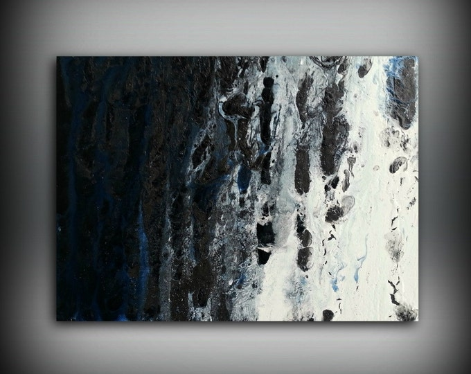 Blue White & Black Painting 12x16 Abstract Painting Acrylic Painting Abstract Wall Art Small Wall Art Canvas Modern Home Decor Wall Hanging