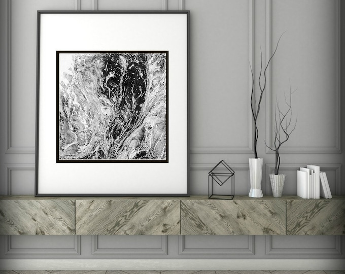 Abstract Art Print , Abstract Giclee Print , Modern Art Abstract , Minimalist Painting , Acrylic Pour Painting, Black and White