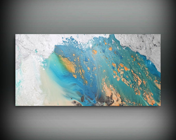 Coastal Wall Art, Minimalist Art, Acrylic Pour Painting, Beach Art, Blue Painting, Abstract Simple Art