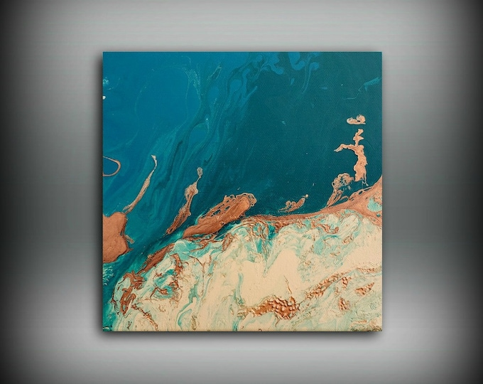 """Painting Sale Ready to Ship Painting Art Painting Acrylic paintings abstract Small wall art home decor on canvas 8 x 8"""" Coastal Art"""