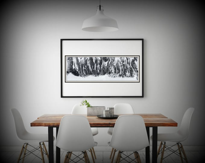 Abstract Fine Art Print from Original Abstract Painting Long Painting 8x24-36x108 Black and White Wall Art Gift for Men Office Wall Art