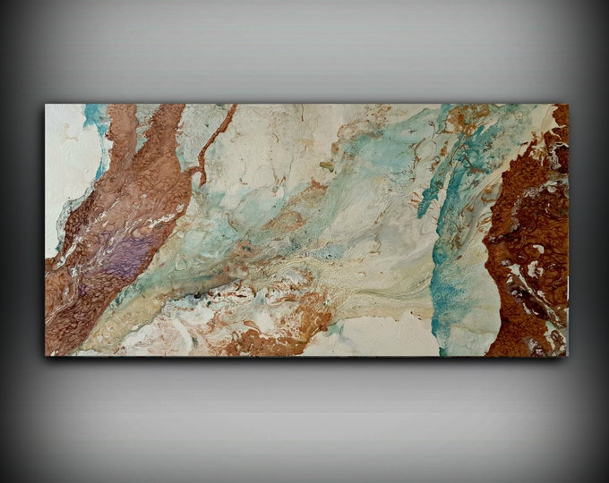 ORIGINAL Painting, Art Painting Acrylic Painting Abstract Painting, Copper Wall Hanging, XL Extra Large Wall Art, Modern Wall Decor 24 x 48