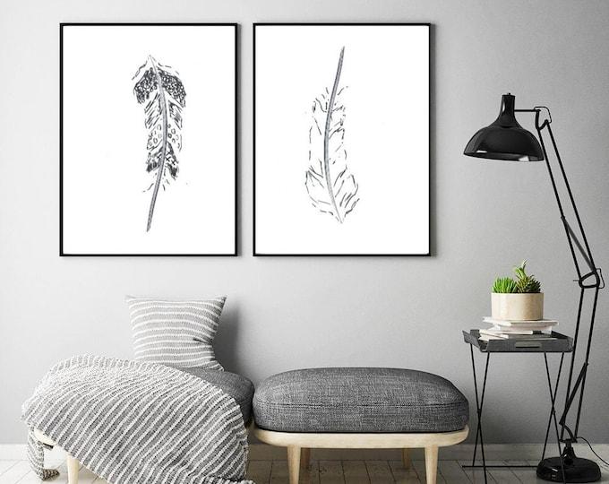 Feather line art, Set of 2 prints, Abstract botanical decor, Minimalist wall art, Modern room decor, Boho wall art, Black and white Drawing