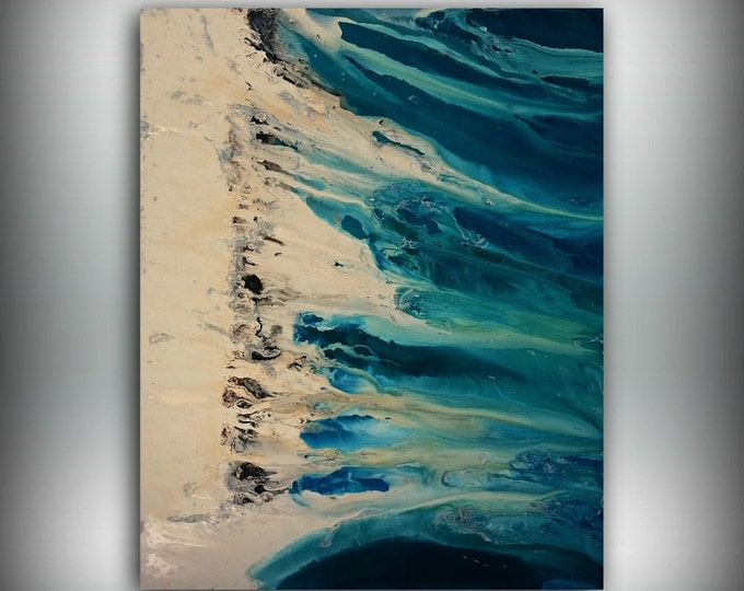 Art Painting Teal Painting Large Paintings Abstract XL EXTRA LARGE Wall Art / Wall Hanging Home Decor on Canvas by LDawningScott 48 x 60""