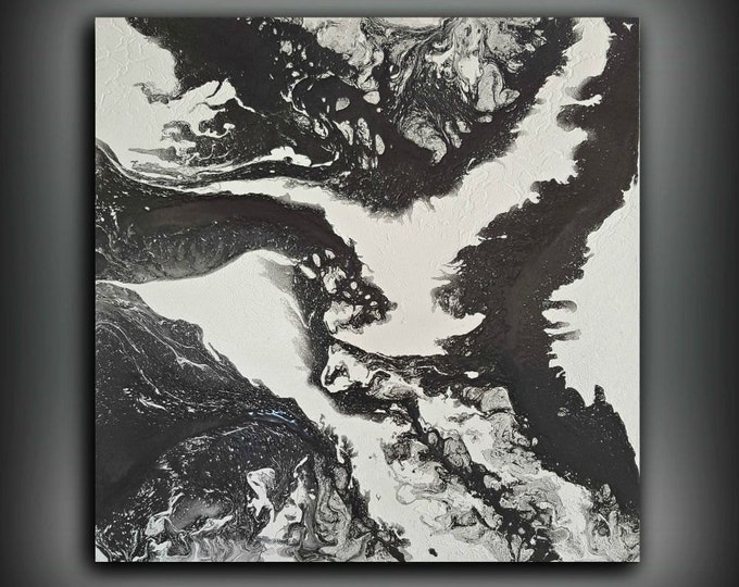 ORIGINAL Painting, Art Painting Acrylic Painting Abstract Painting, Wall Hanging Large Wall Art, Modern Wall Decor 36x36 Black and White Art