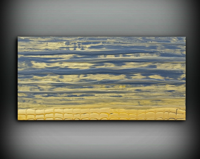 ORIGINAL Painting, Art Painting Acrylic Painting Abstract Painting, Gray and Gold Wall Hanging, Small Wall Art, Modern Wall Decor 12 x 24