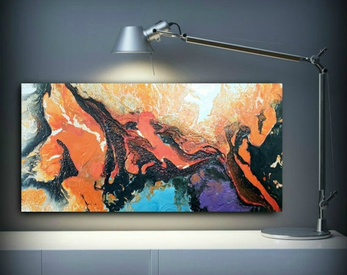 Art Painting Acrylic Abstract Panitings on Sale Small Wall Art Wall Hanging Colorful Home Decor on Canvas Ready to Ship 15 x 30""