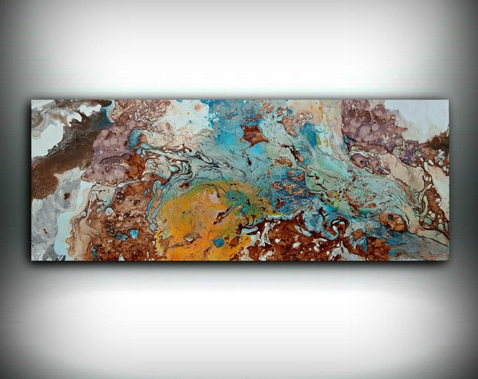 "Copper Painting Coastal 16"" x 40"", Acrylic Painting on Canvas, Abstract Painting, Contemporary Art, Large Wall Art, By L Dawning Scott"