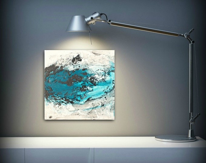 Art Painting Acrylic Painting Abstract Art Small Wall Art Black and White and Blue Home Decor Small Canvas Art, Small Wall Hanging 8 x 8