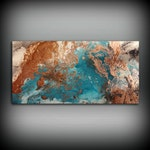 """Copper Coastal Painting 24"""" x 48"""", Acrylic Painting on Canvas, Abstract Painting, Contemporary Art, Large Wall Art, By L Dawning Scott"""